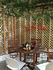 The sukkah -- complete with conference room chairs.